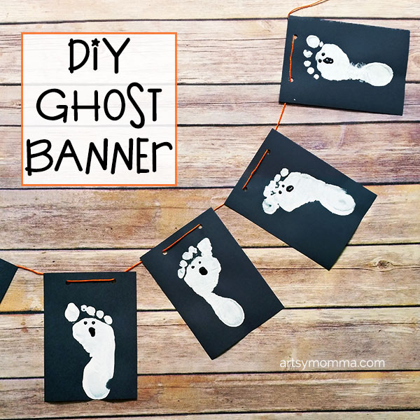 Spooky Cute Ghost Banner made with Footprints...