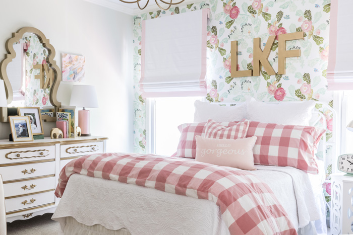 Floral Big Girl Room with Flower Wallpaper and Vintage Accents