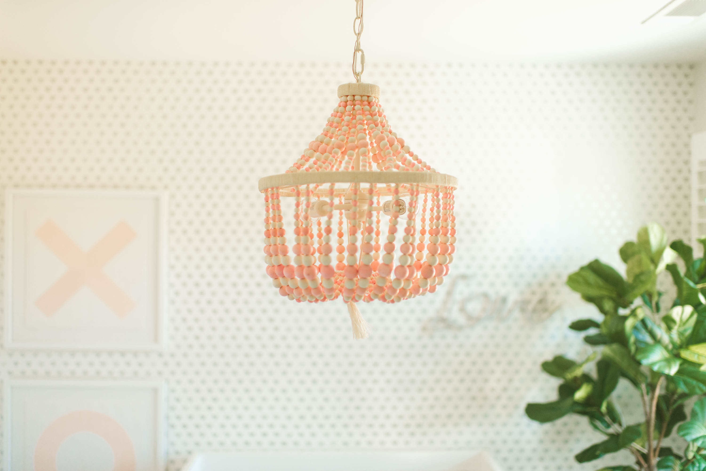 Pink Wood Bead Chandelier in Girl's Pink and White Nursery