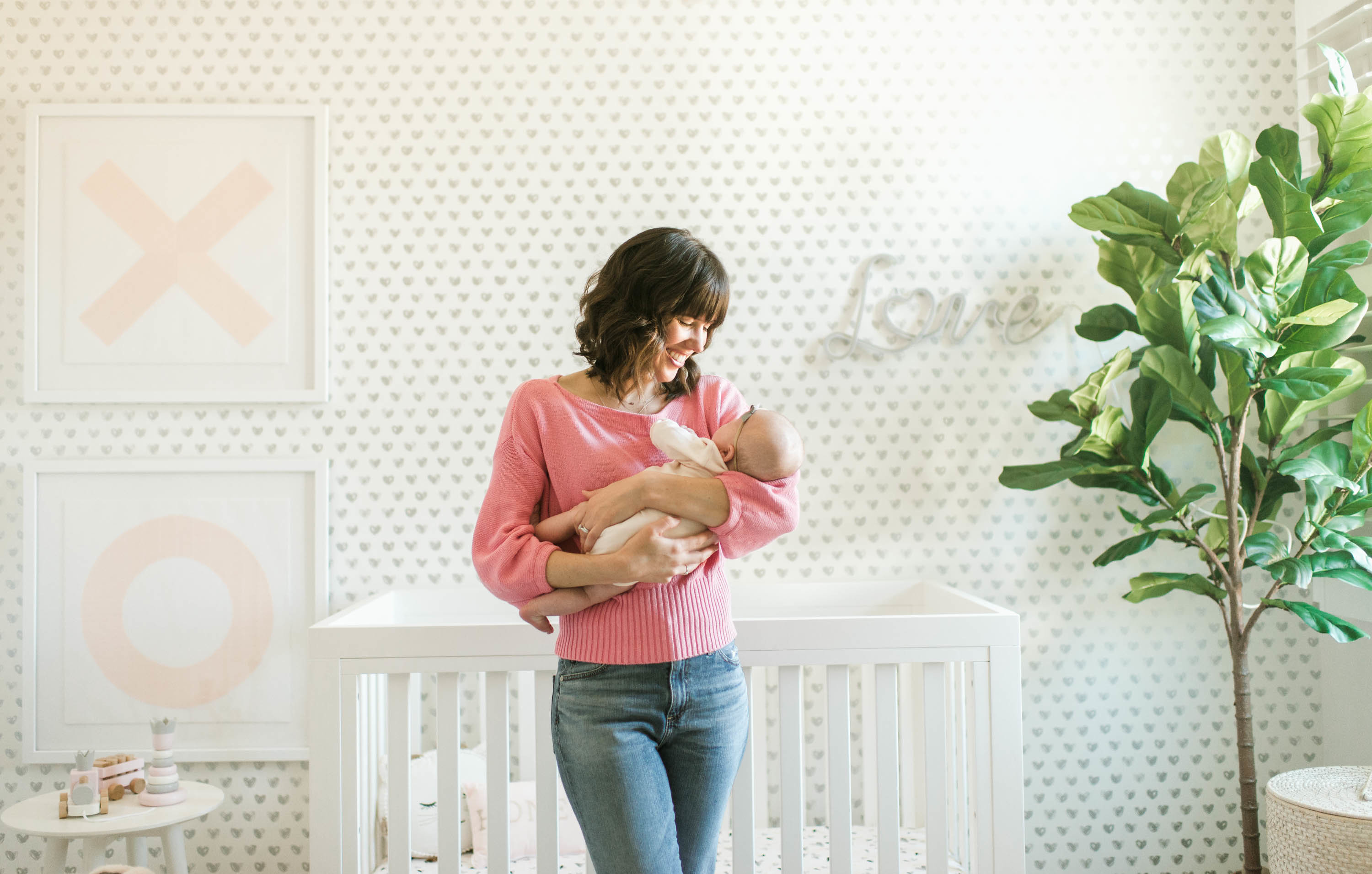 XO Nursery with Heart Wallpaper and Faux Fiddle Leaf Fig