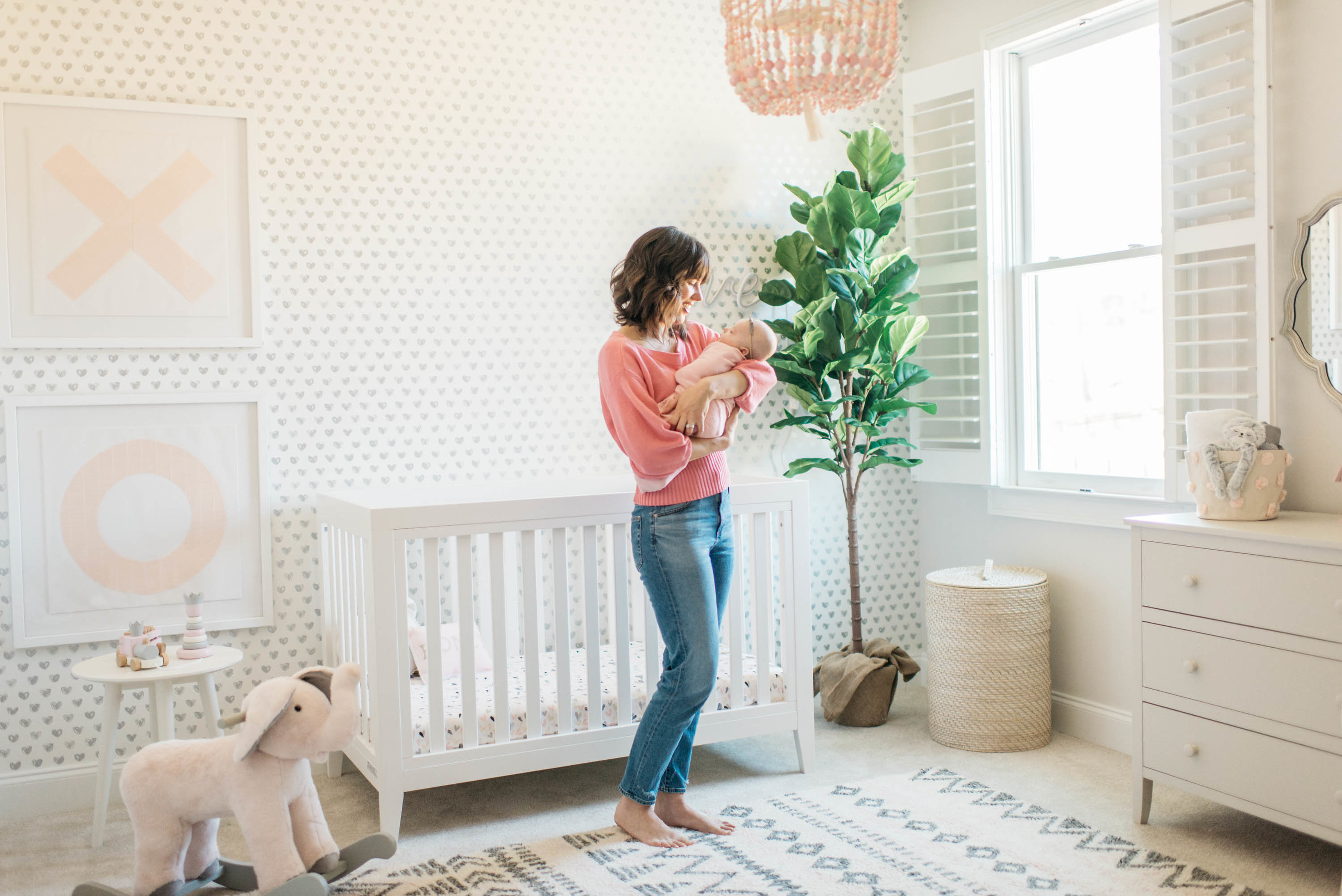 Pink, White and Gray Nursery with XO Prints and Faux Fiddle Leaf Fig