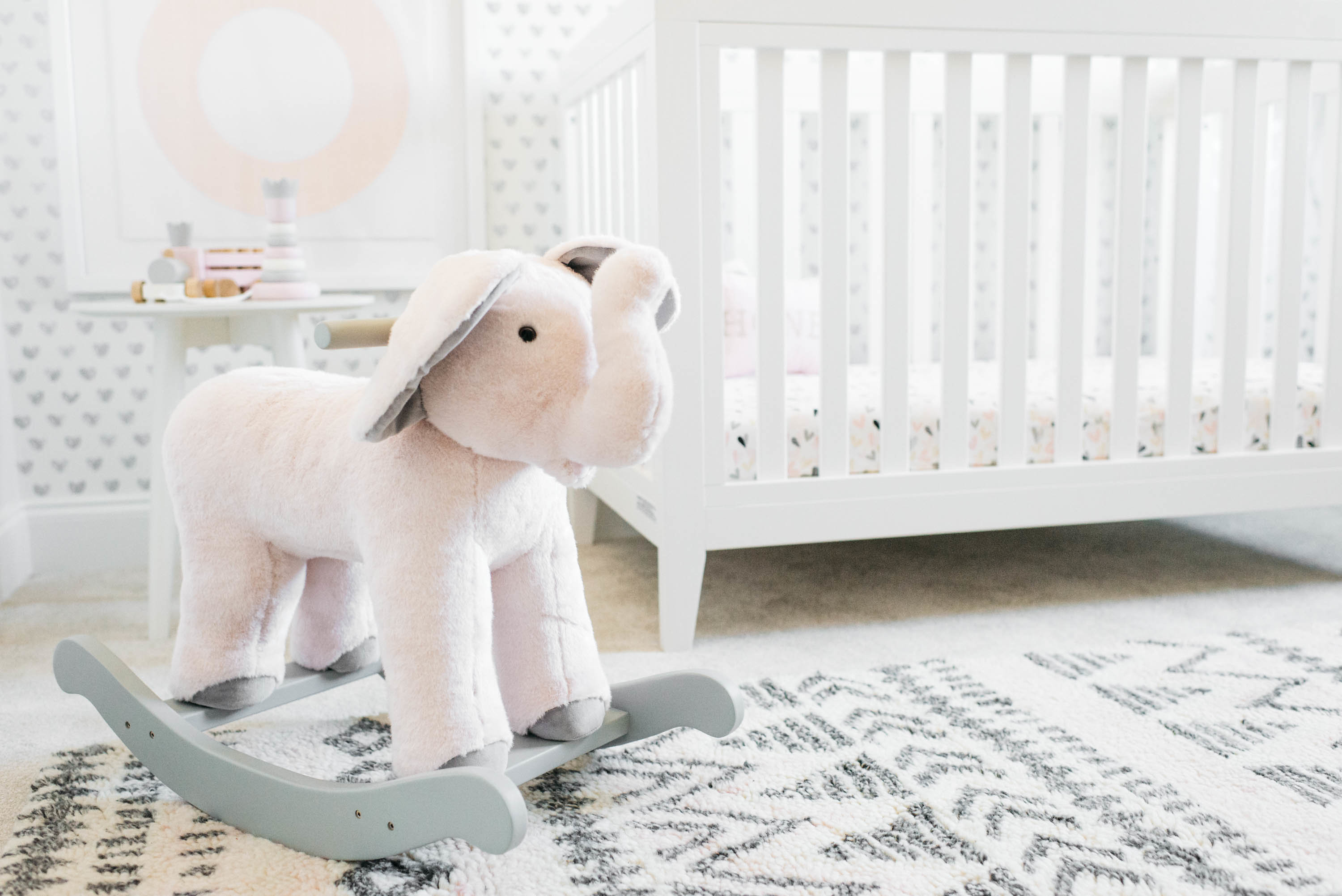 Elephant Rocker in Girl's Pink, White and Gray Nursery