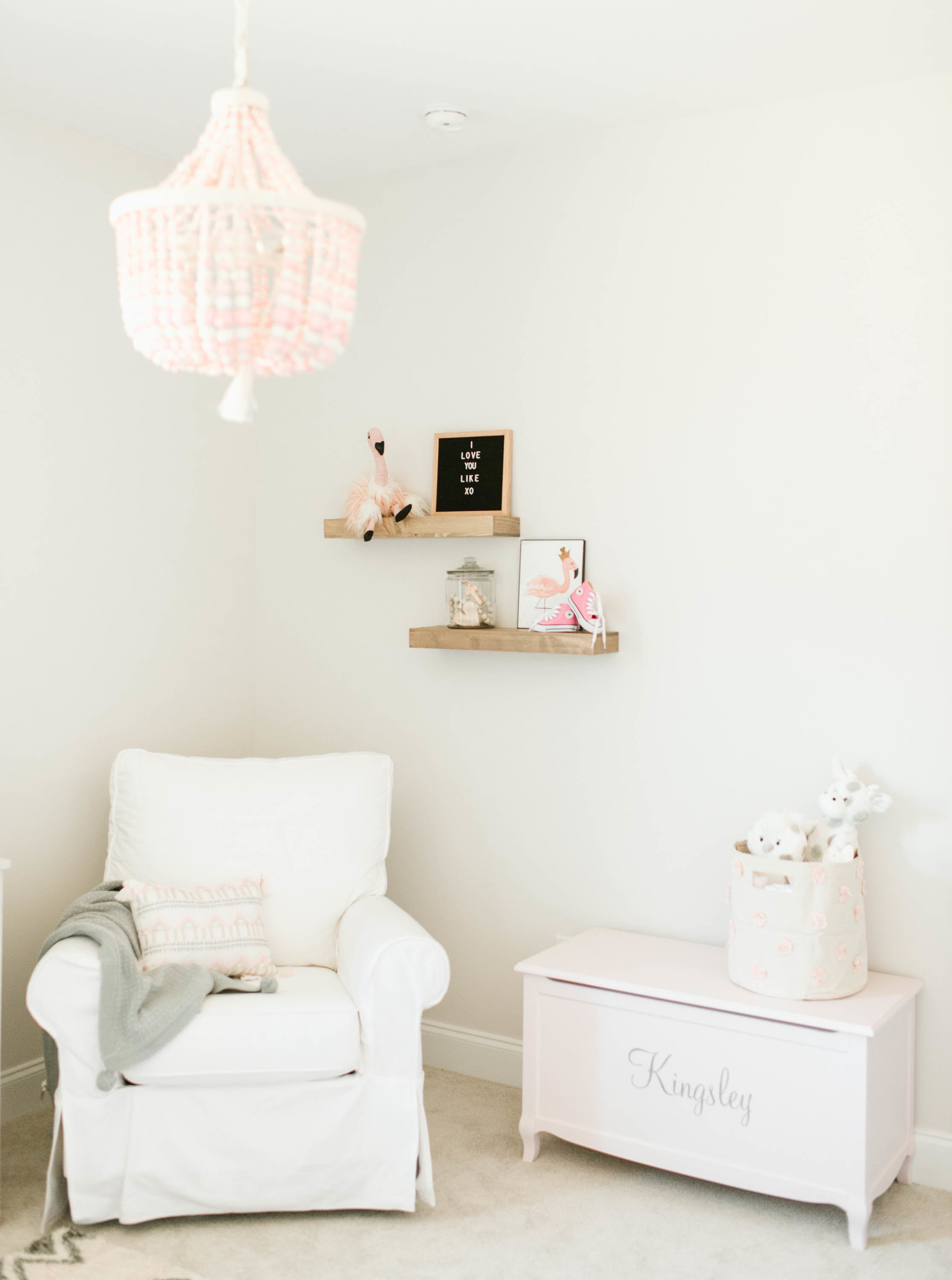 Glider and Toy Chest in Pink, White and Gray Nursery