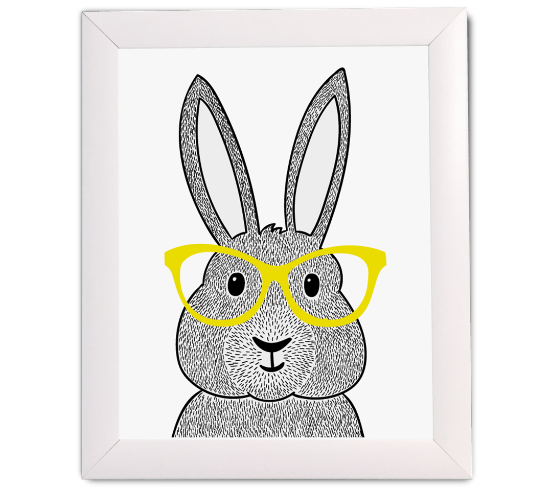 Bunny with Glasses Print - The Project Nursery Shop
