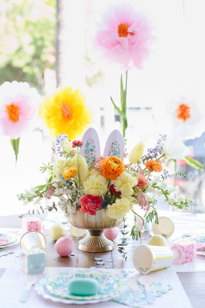 Easter Flower Arrangement with Bunny Ears