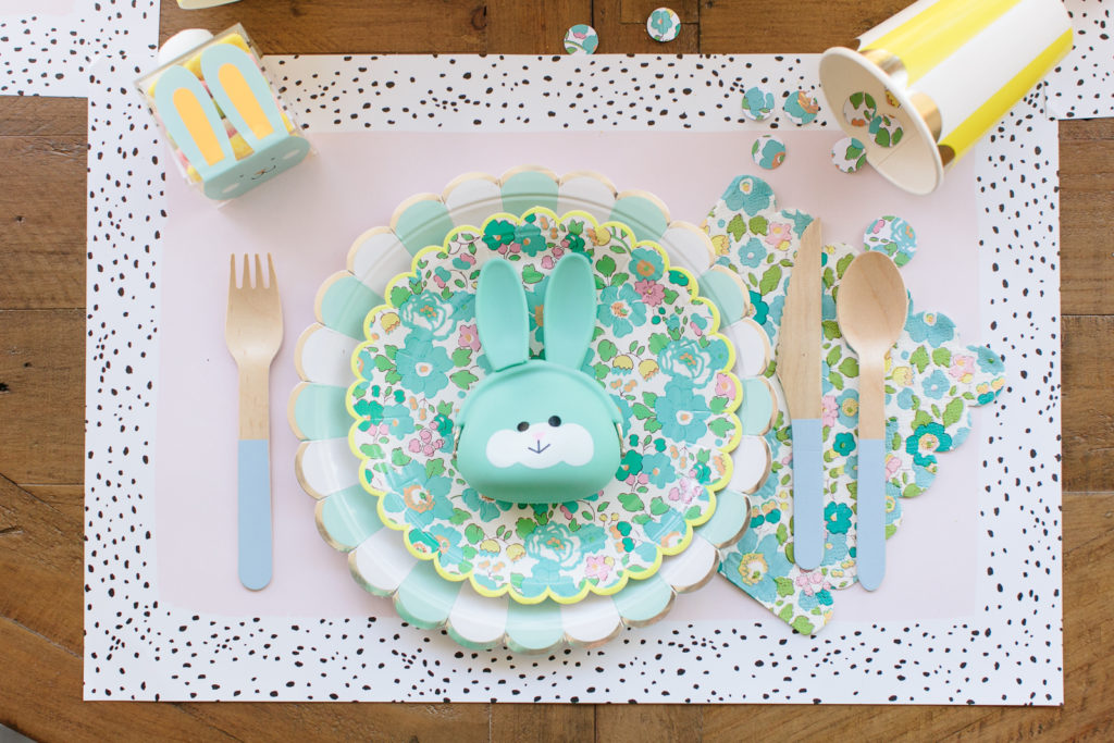 Easter Place Setting with Liberty Print and Bunny Pouch