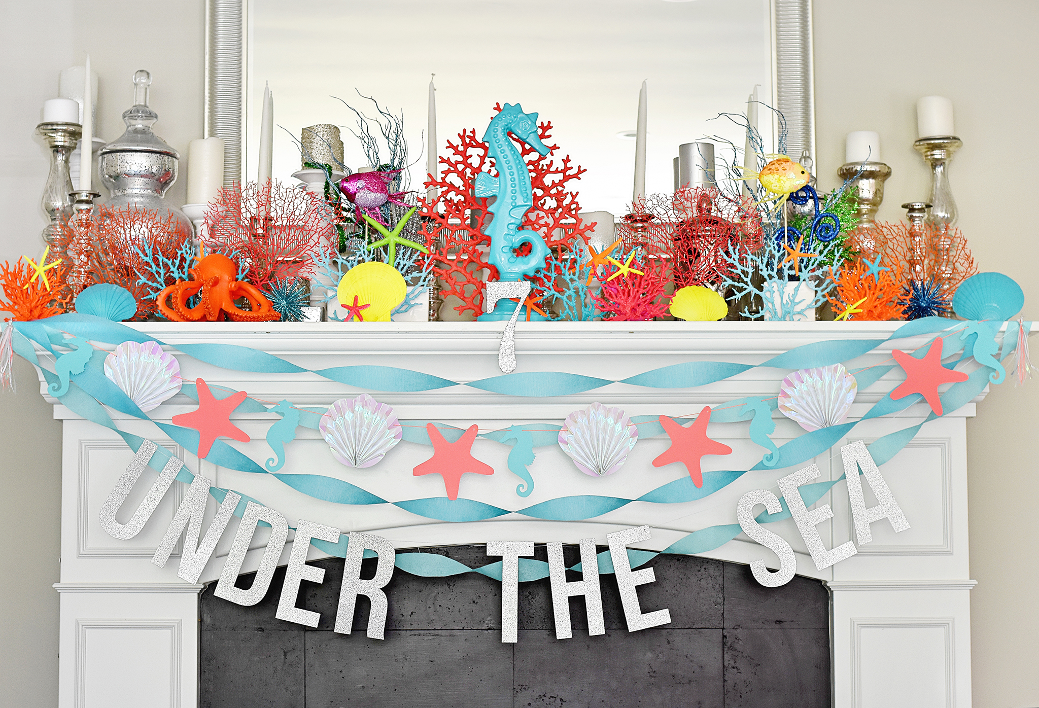 Party decor included neon colored coral and starfish!