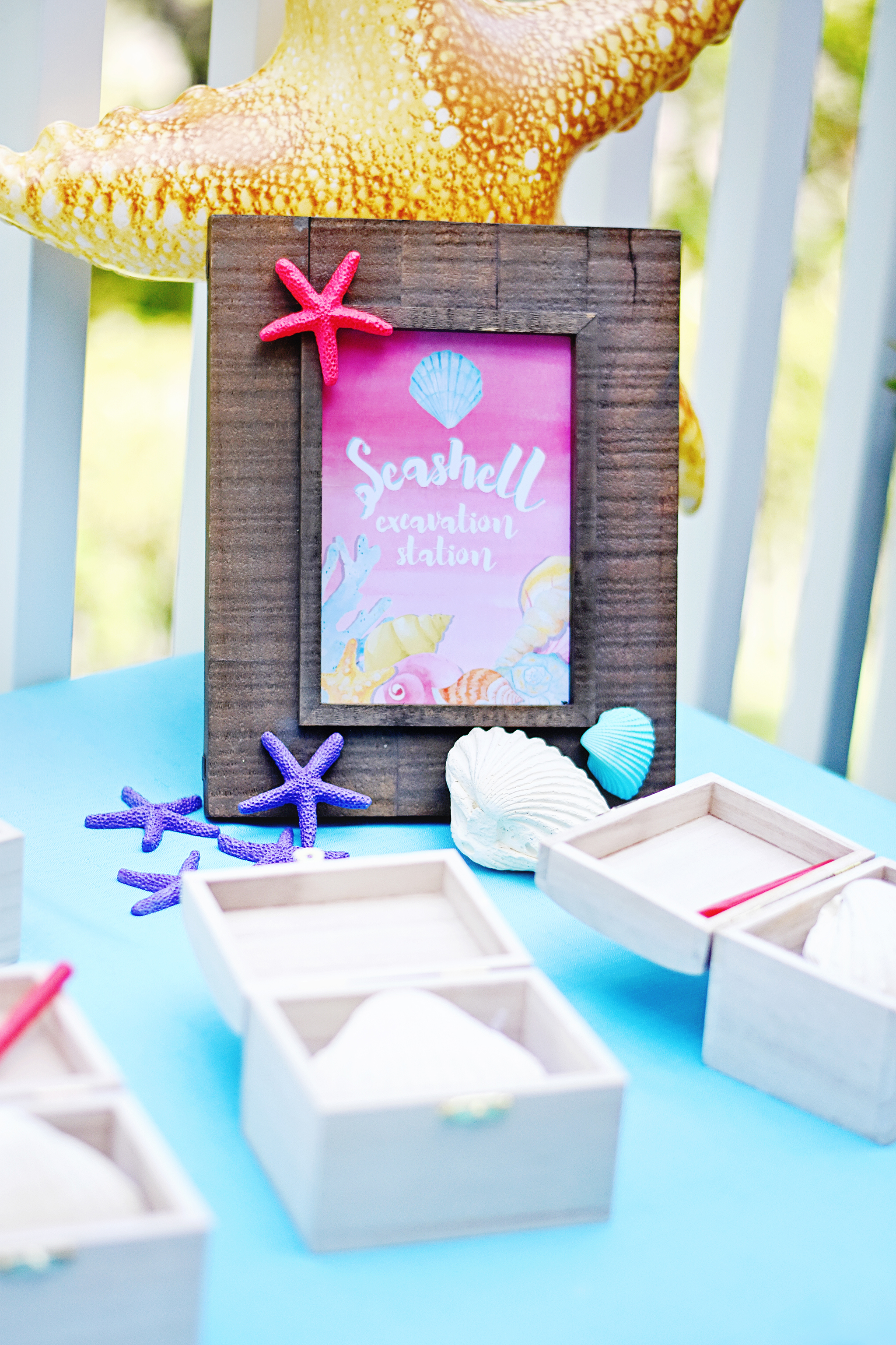 """Create a """"Seashell Excavation Station"""" at your Under the Sea party!"""