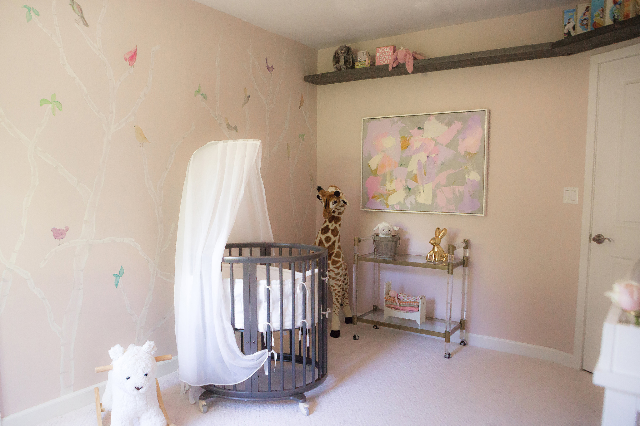 Jenni Pulos Nursery with Bird and Trees Wall Mural