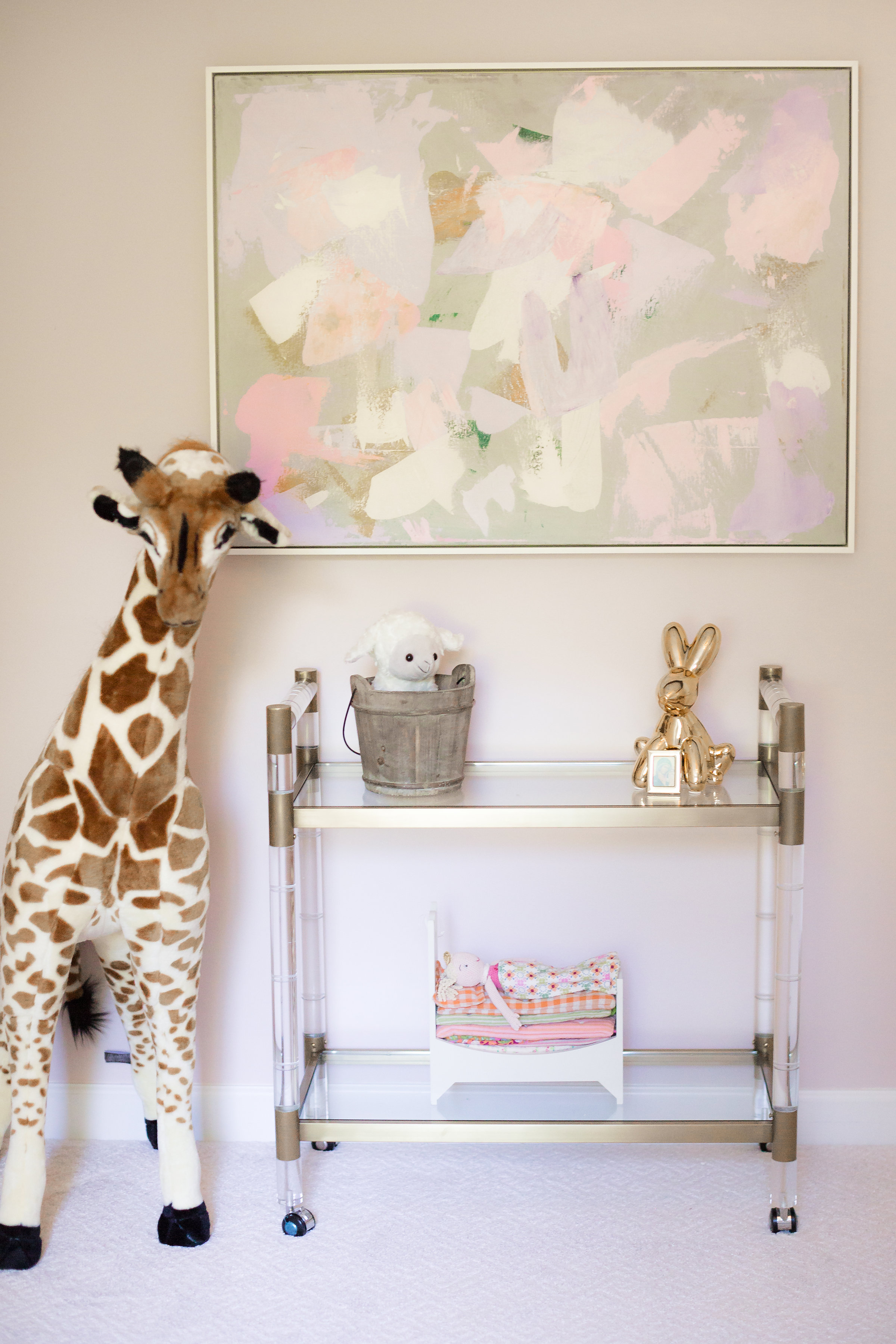 Jenni Pulos Pink and White Nursery with Abstract Painting
