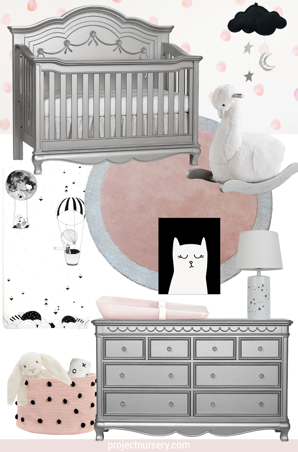 Heritage Baby Cache Adelina Design Board Silver Modern Metallic Nursery Inspiration