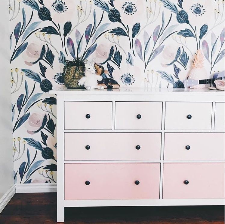 Moody Floral Wallpaper and Pink Ombre Dresser