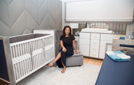 This Modern Boy's Nursery Features an Upholstered Wall!...