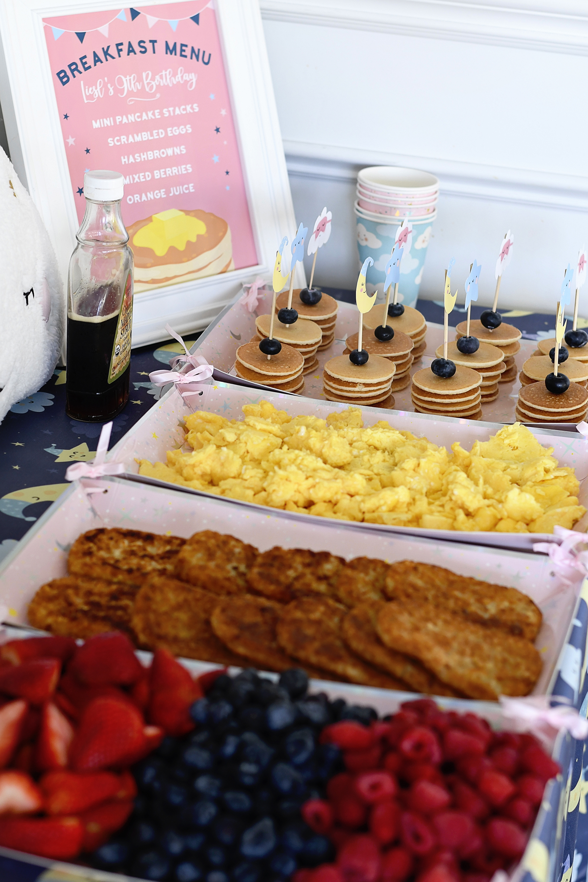 Pancakes in Pajamas - Offer a breakfast themed food bar!