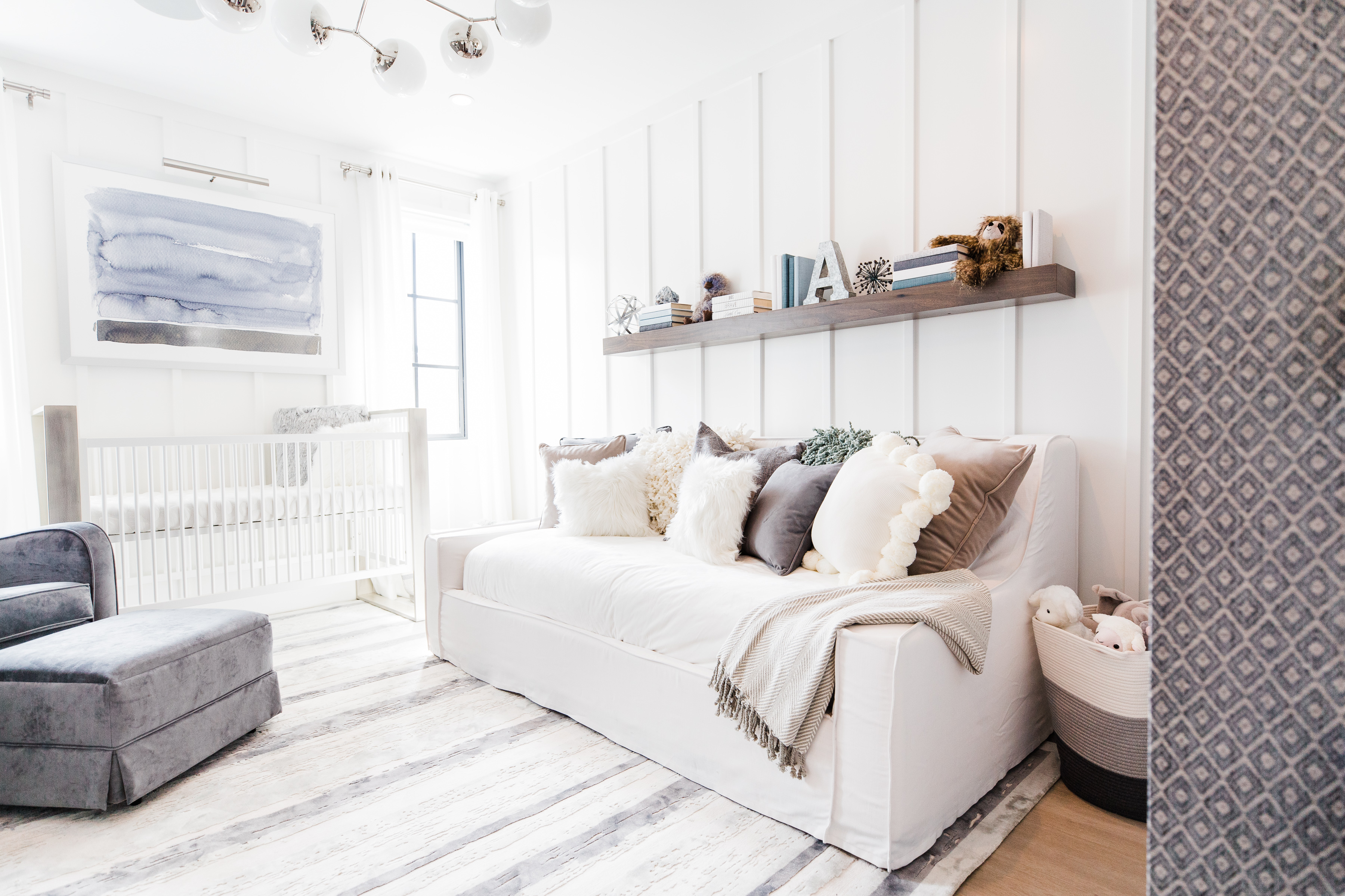 Sophisticated Blue Nursery with Couch