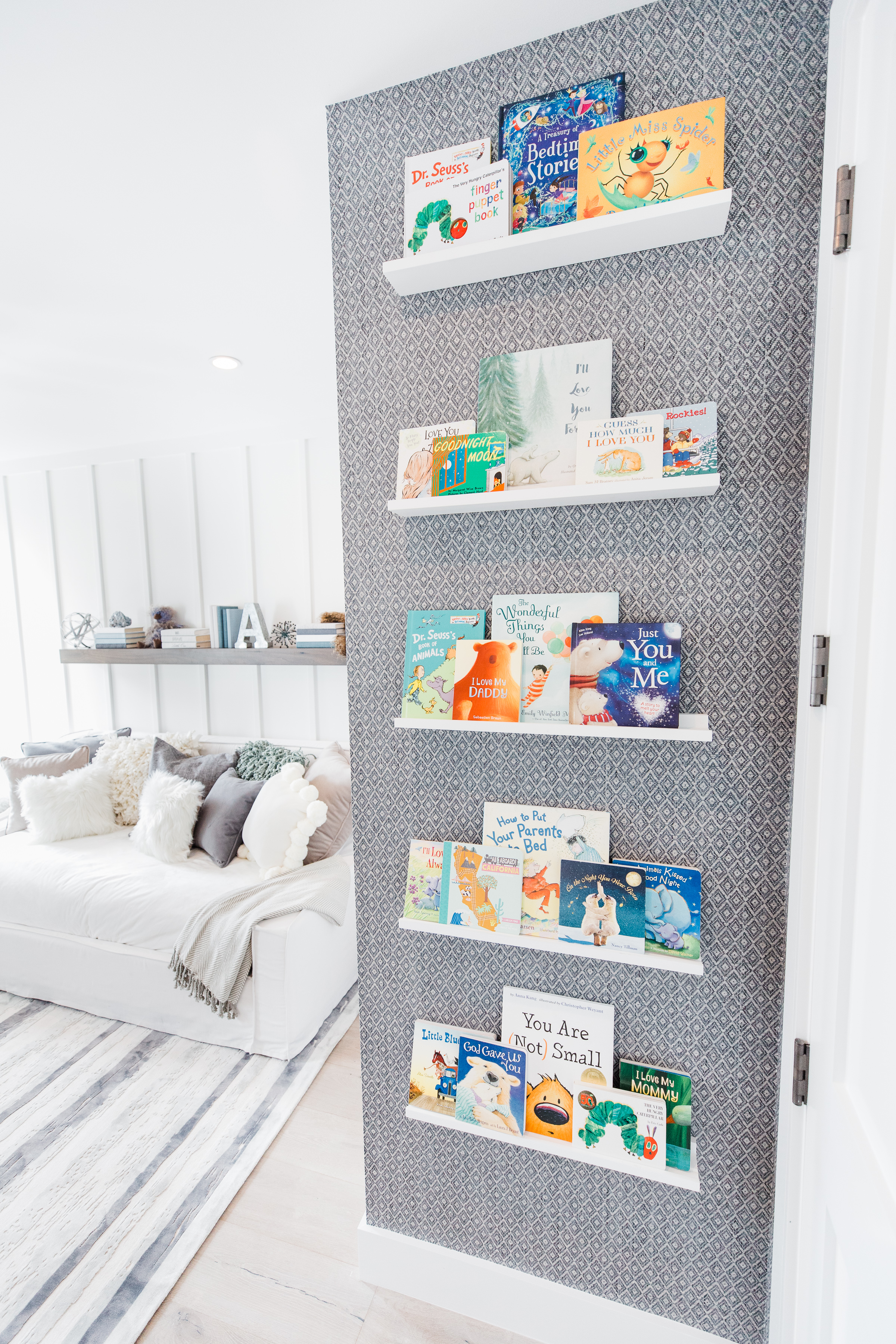 Book Ledges in Sophisticated Blue Nursery