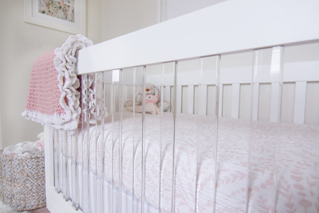 Acrylic Crib in Blush Nursery