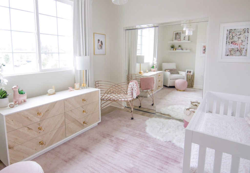 Modern Blush Nursery with Rose Gold Bassinet