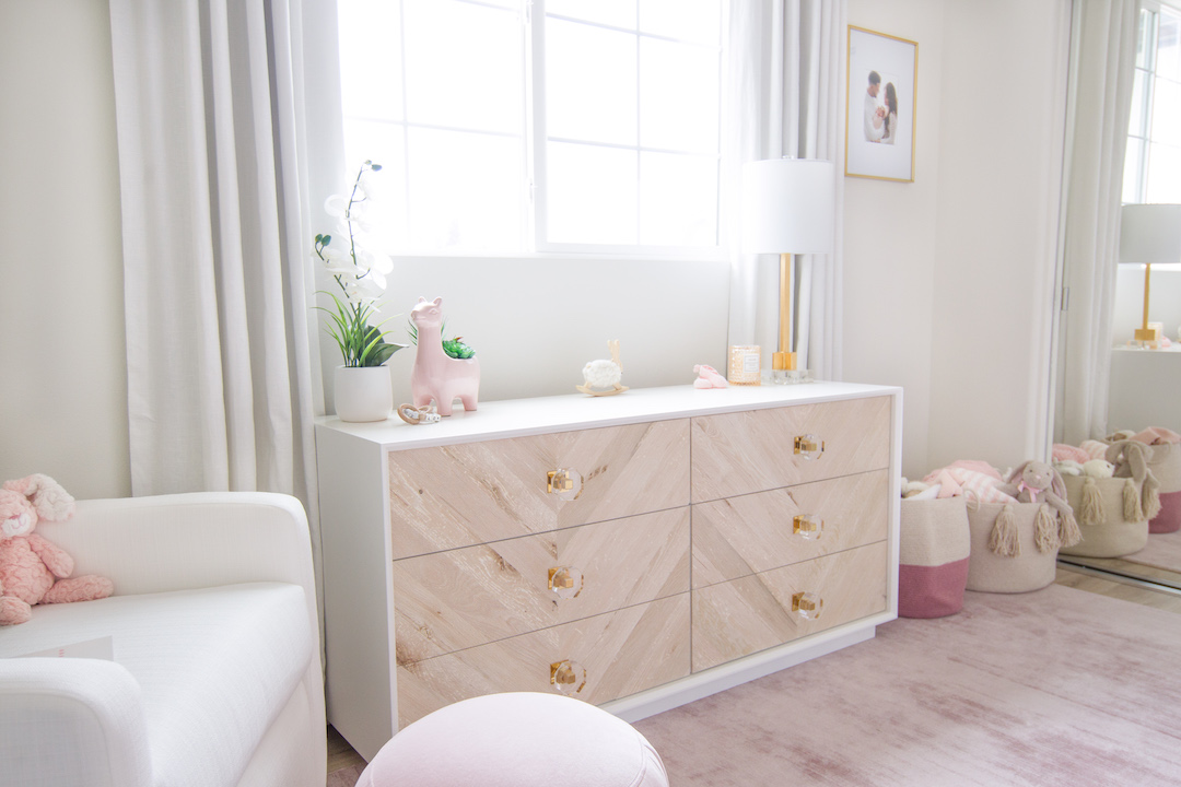Two-tone Dresser with Acrylic Knobs in Blush Nursery