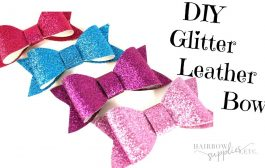 DIY Faux Leather Bow Tutorial - How to Make a Glitter Hair Bow DI...