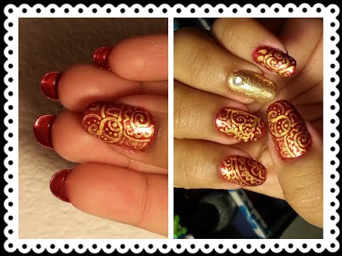 Indian Bridal Nails:Red N Gold Paisley Prints With Louboutin Tips...
