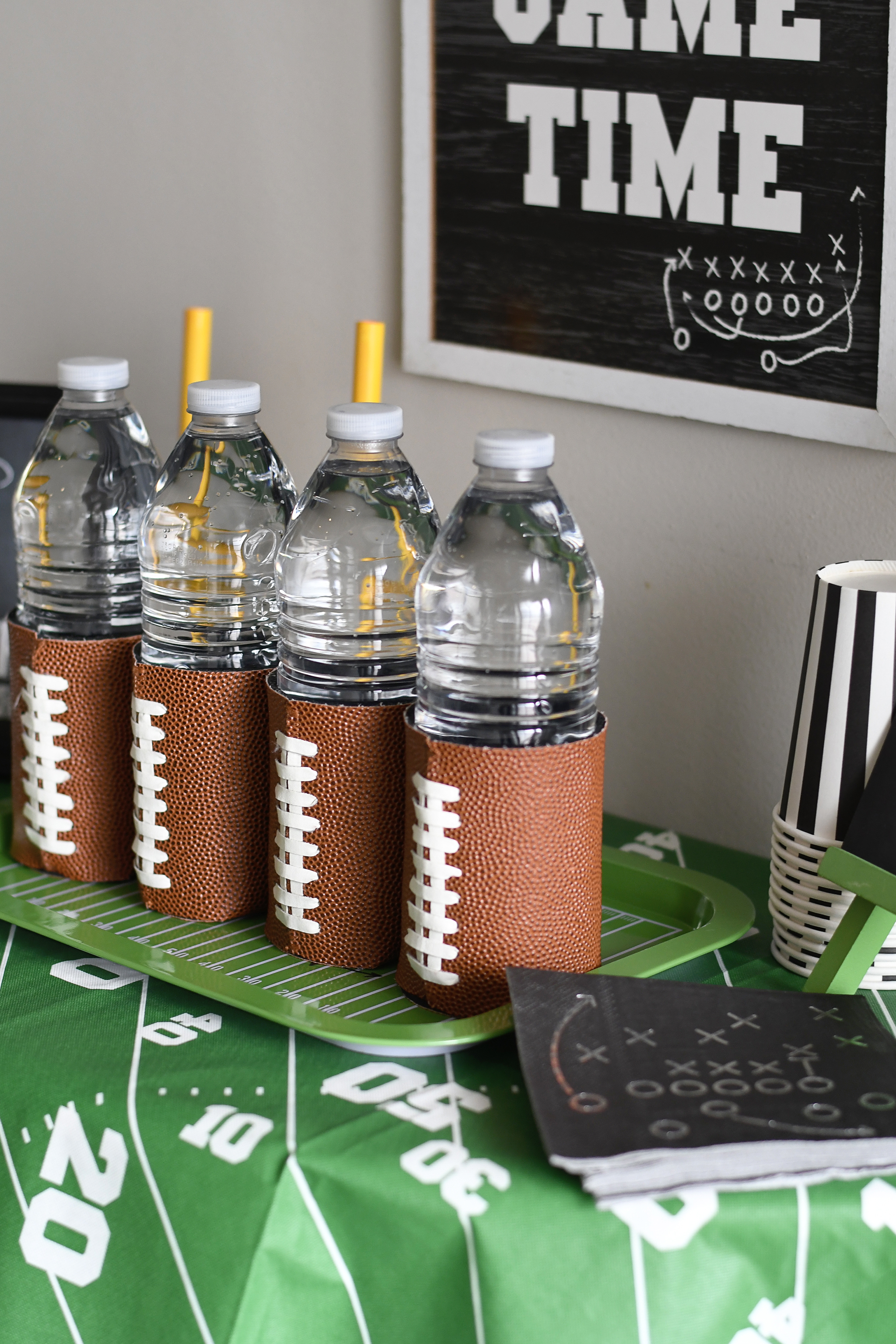 Water Bottle wraps made out of real football material!