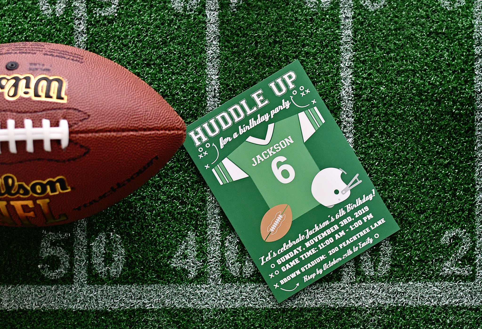 Custom Football Birthday Party Invites