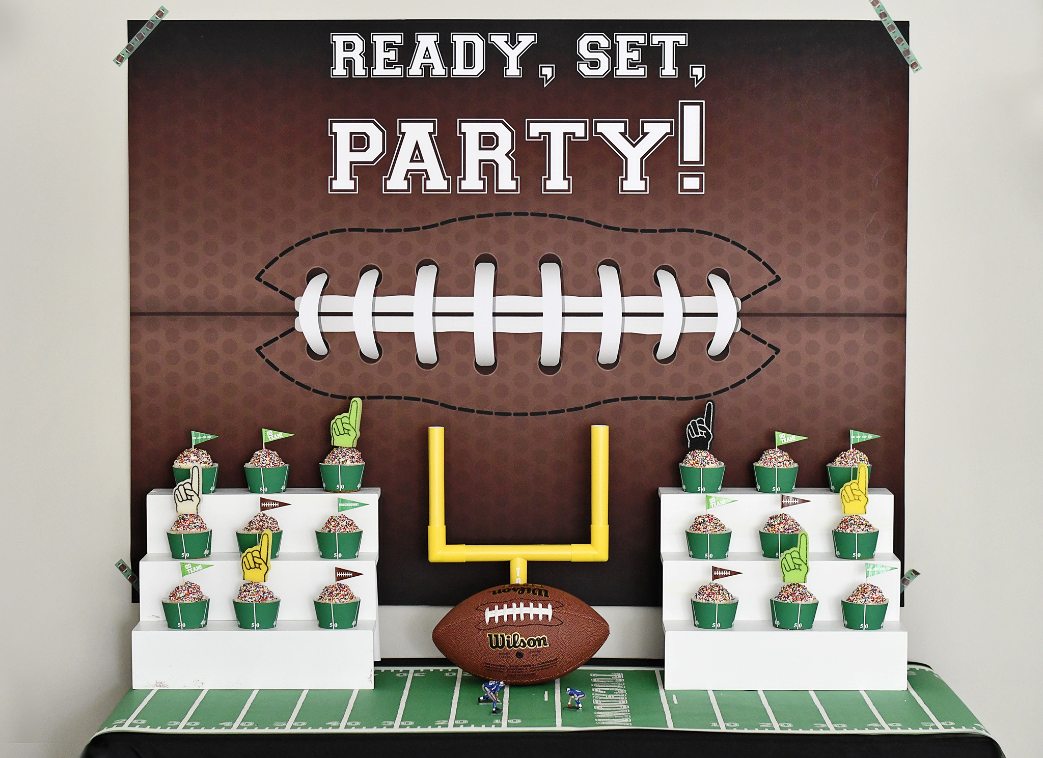 Football Cake Table Backdrop and Cupcake Stadium Bleachers