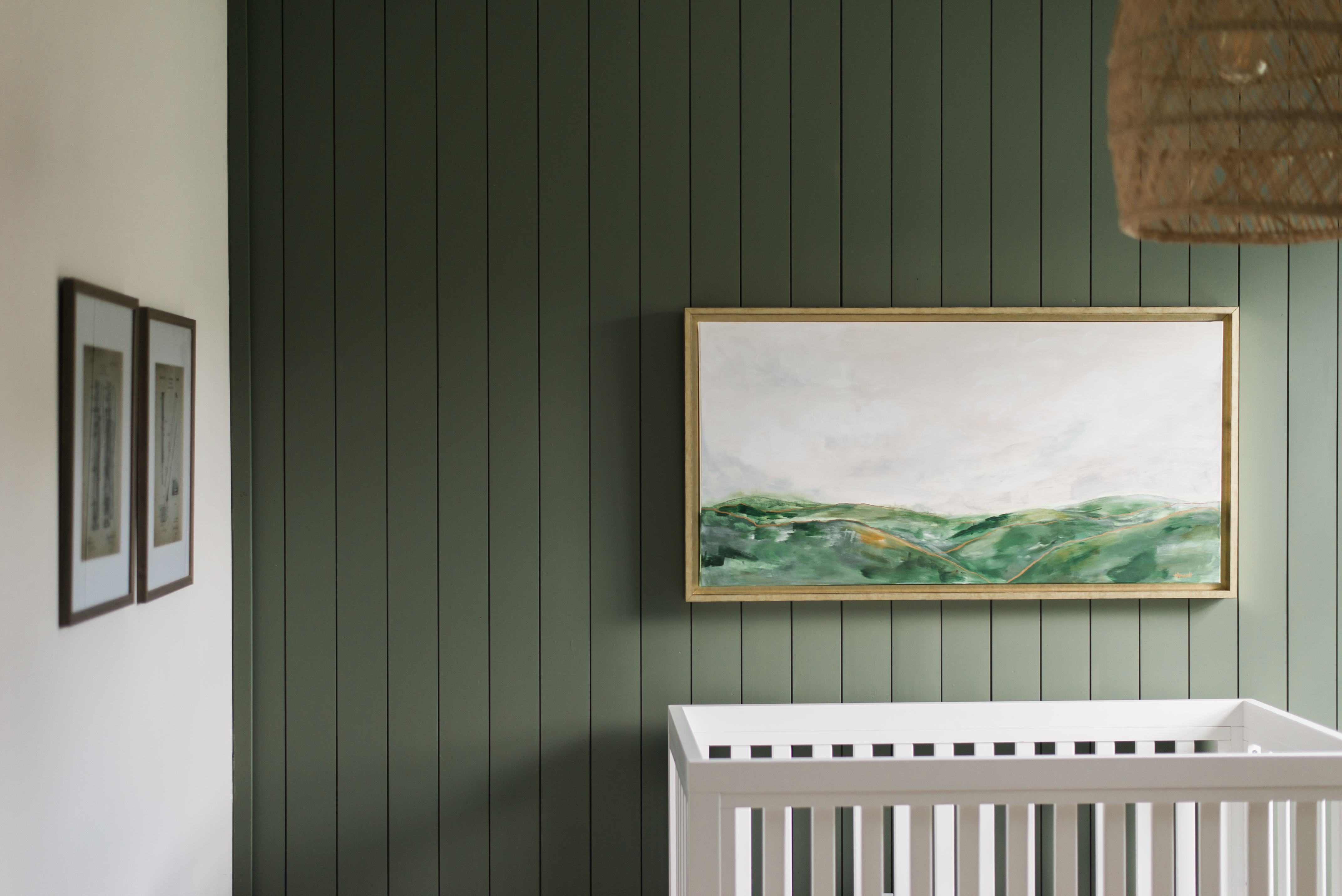 Moody Green Nursery with Painted Shiplap Design: @megbasinger 2020 Nursery Trends: Moody Green
