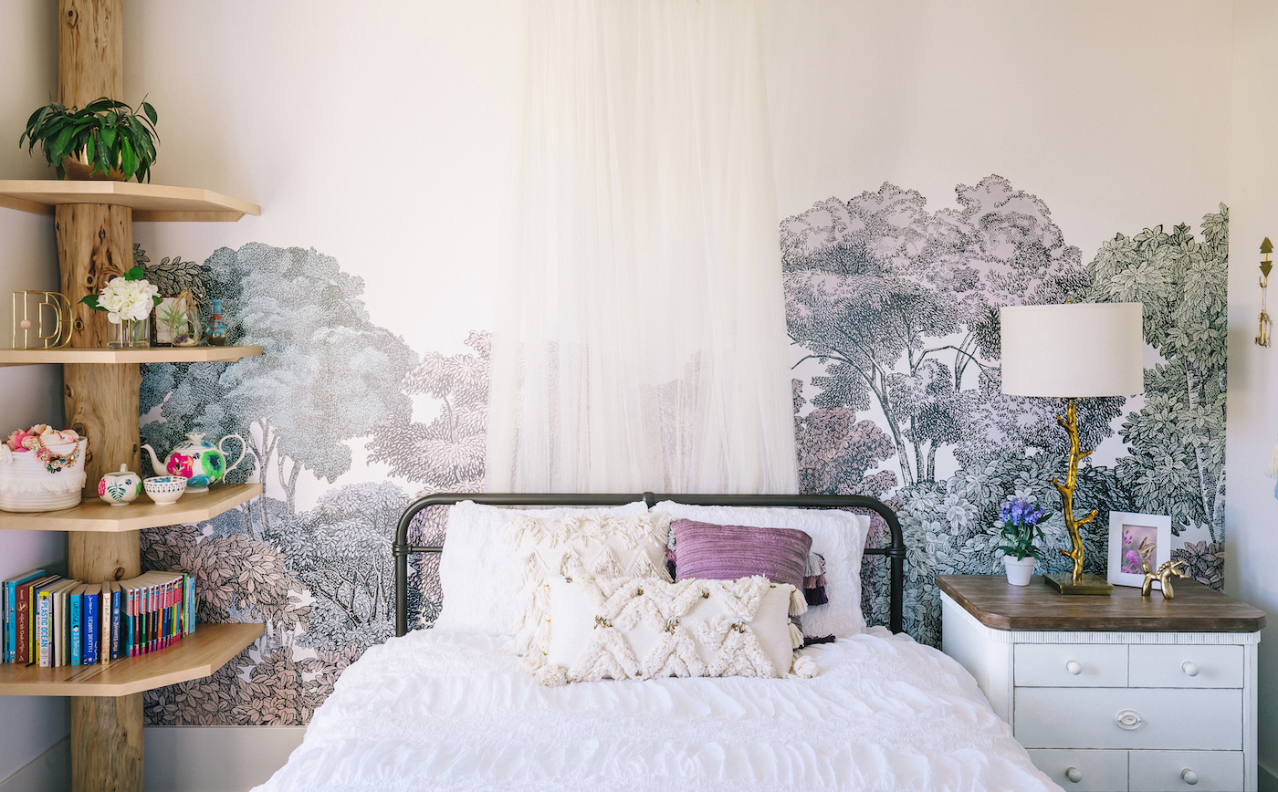 Nature Inspired Lavender Girls Room with Tree Mural Design: Little Crown Interiors Nature Mural Nursery Trends