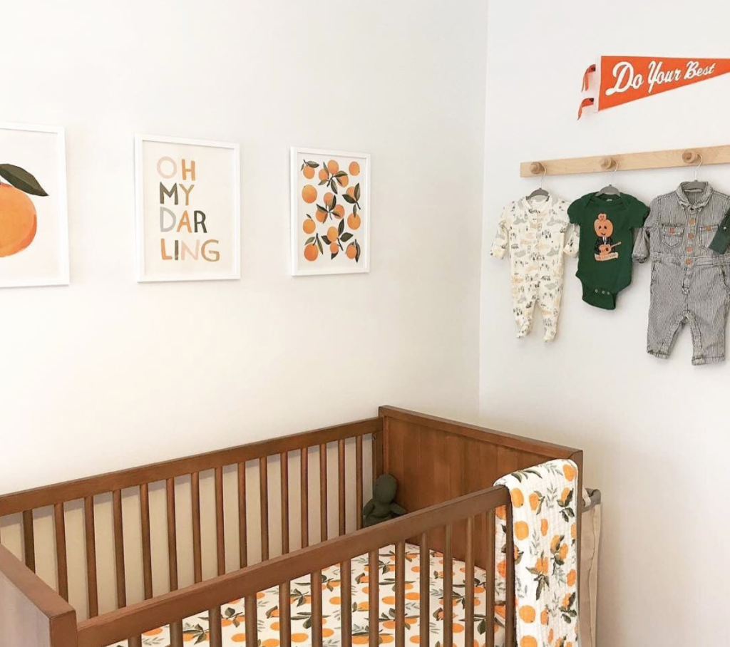 Clementine Themed Boy Nursery Design by @meghanhargrave 2020 Nursery Trends: Citrus Punch