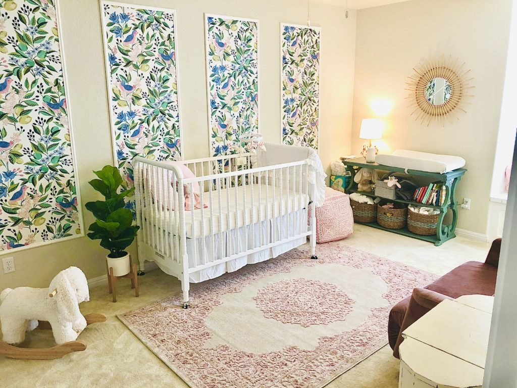 Framed Floral Wallpaper Panels in Girl's Nursery Design: @claire.foehrkolb