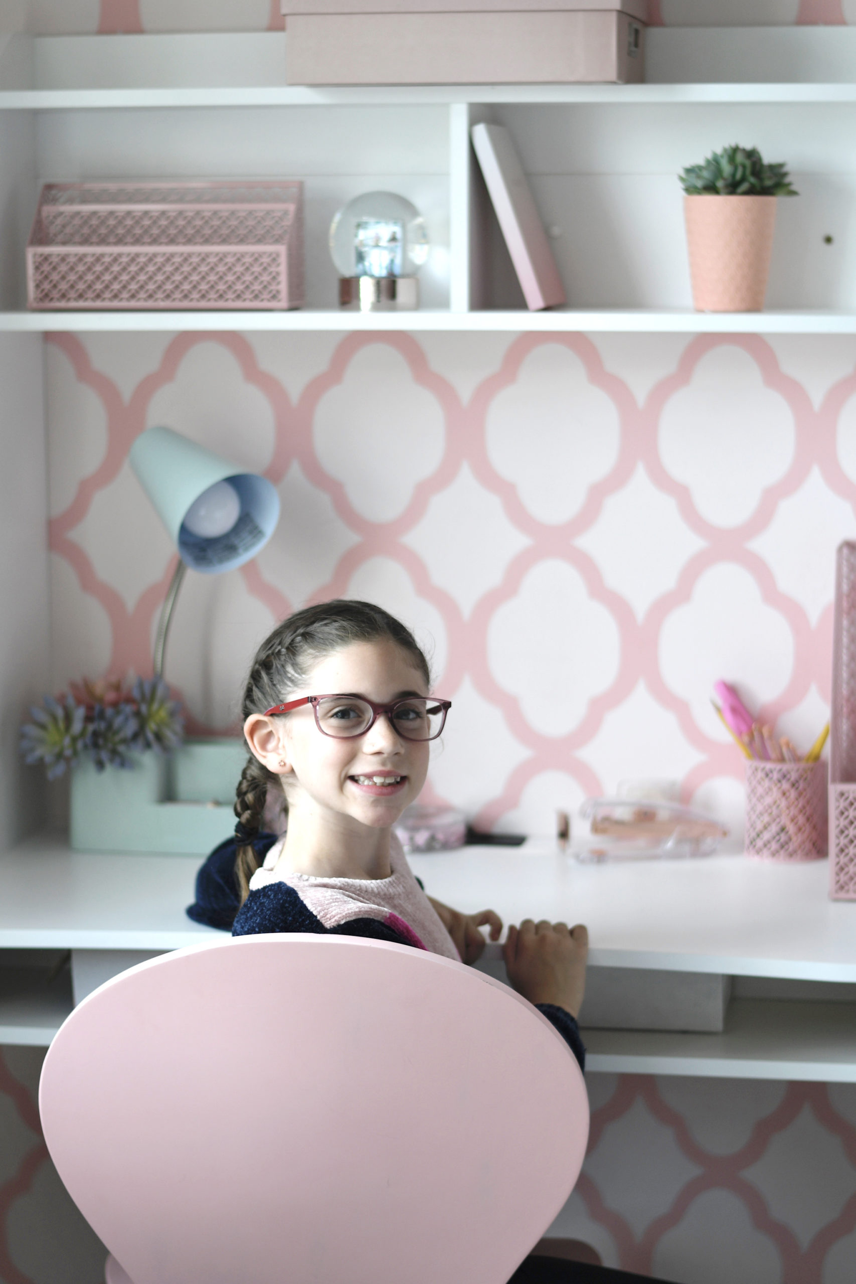 Mounted Wall Desk in Girls Room