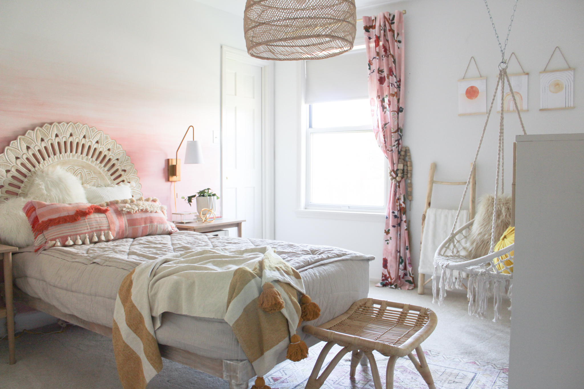 Girl's Room with DIY Ombre Wall Mural