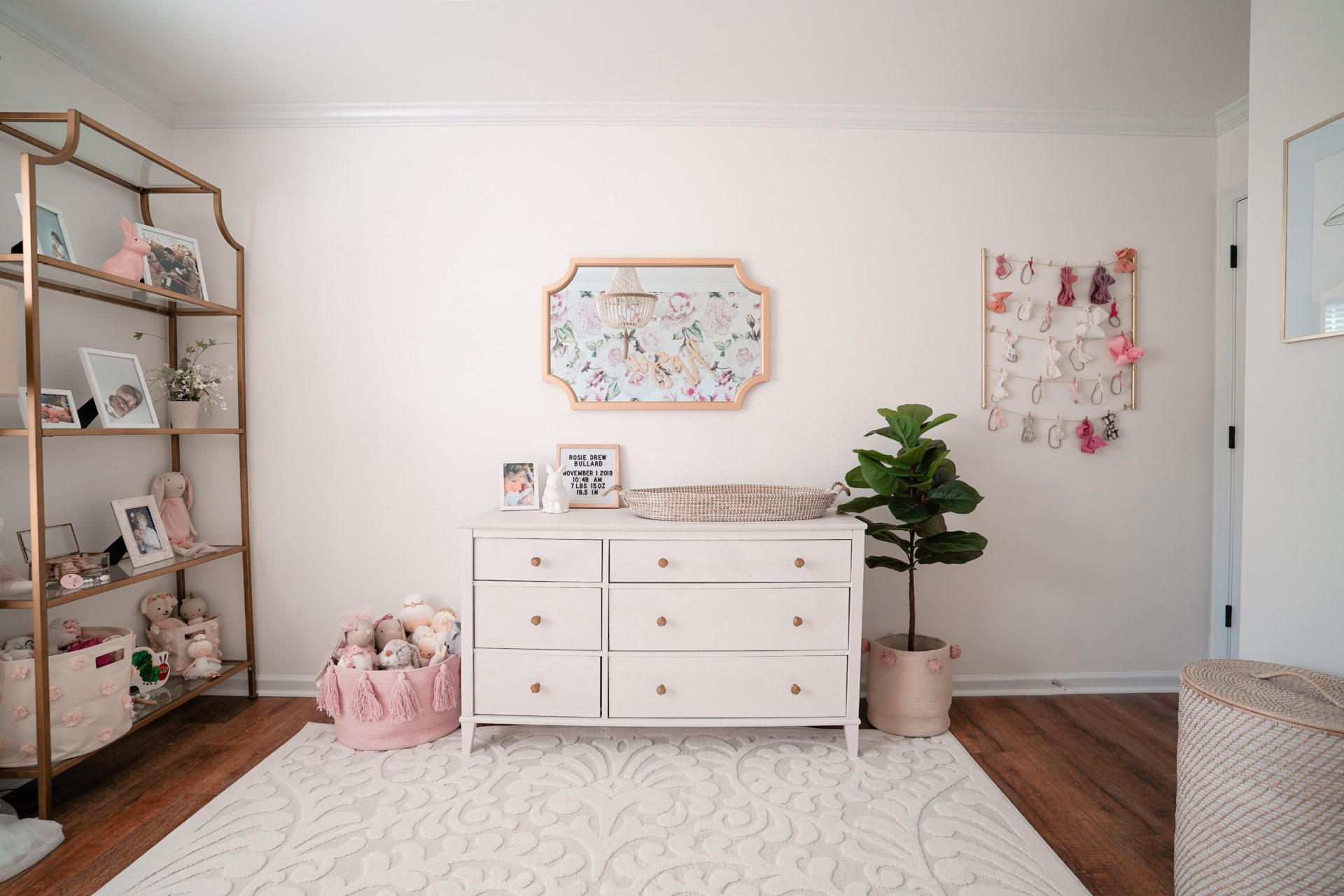Girl's Nursery Dresser with Mirror and Etagere Shelf