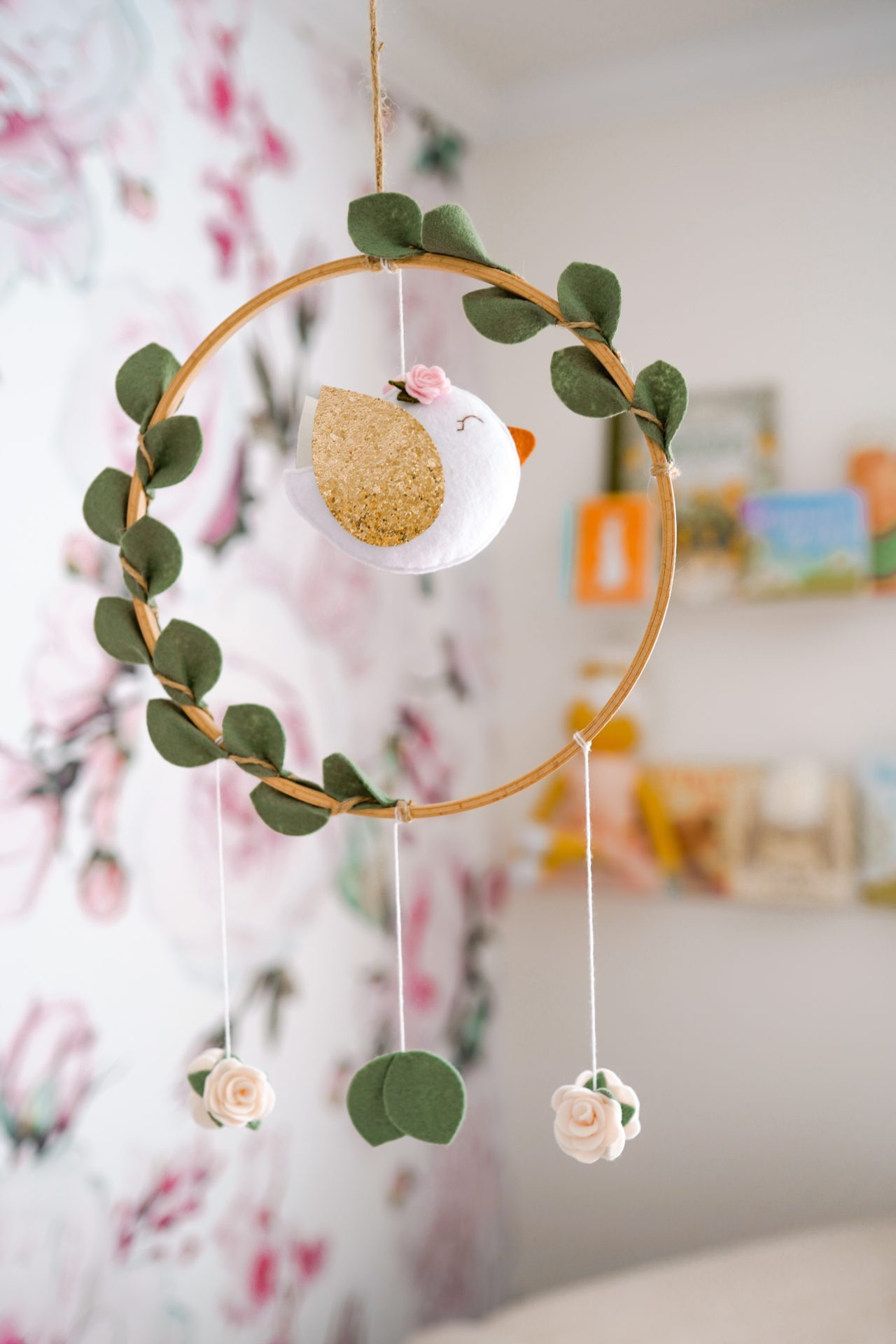 Bird Baby Mobile with Leaves and Flowers