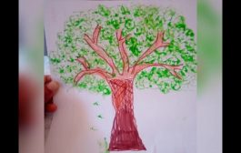 Colouring a tree  using lady's finger vegetable prints...