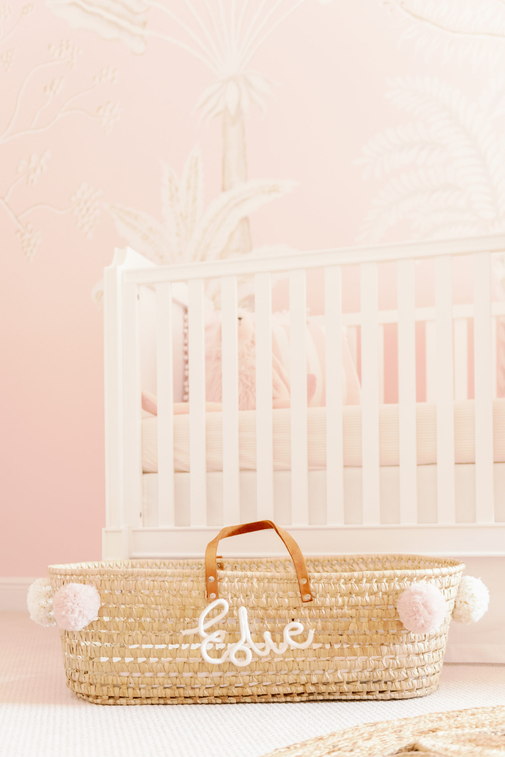 Pink and White Palm Mural in Baby Girl Nursery