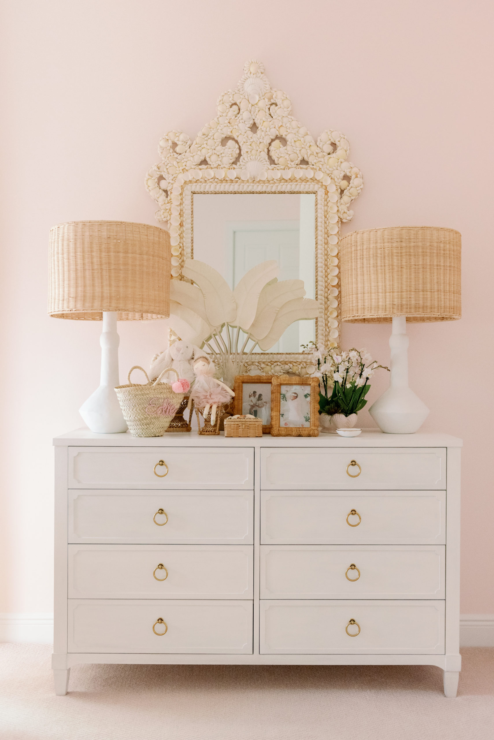 Sea Shell Mirror over Dresser in Palm Beach Lately Nursery