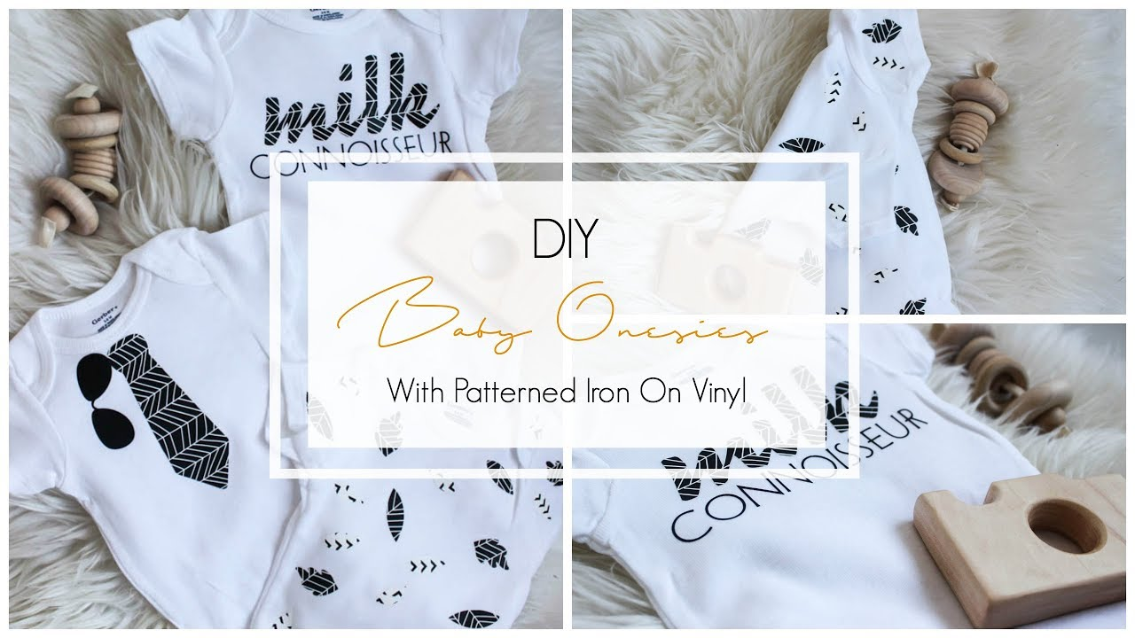 DIY Baby Onesies [with Cricut Patterned Iron On Vinyl]...