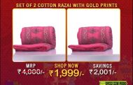 Set of 2 Jaipuri Cotton Razai with Gold Prints...