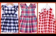 new styles of baby girl's checked print cotton frocks dresses...
