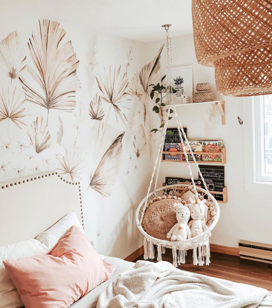 Woven Accents Trend - Bohemian Palm Decals in Girls Room by @oursmalltownsquad