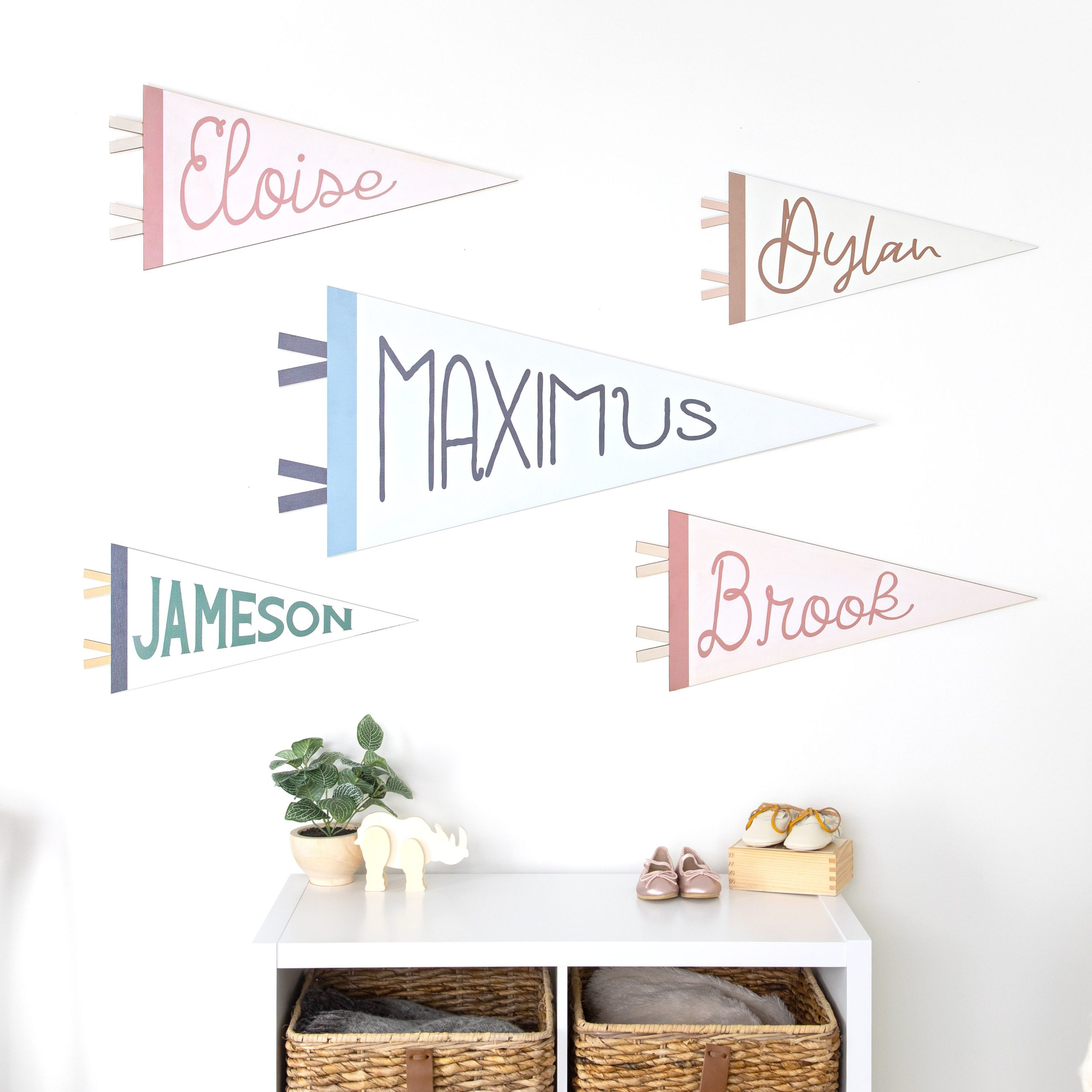 Kiki and Max Personalized Wooden Pennant Banners