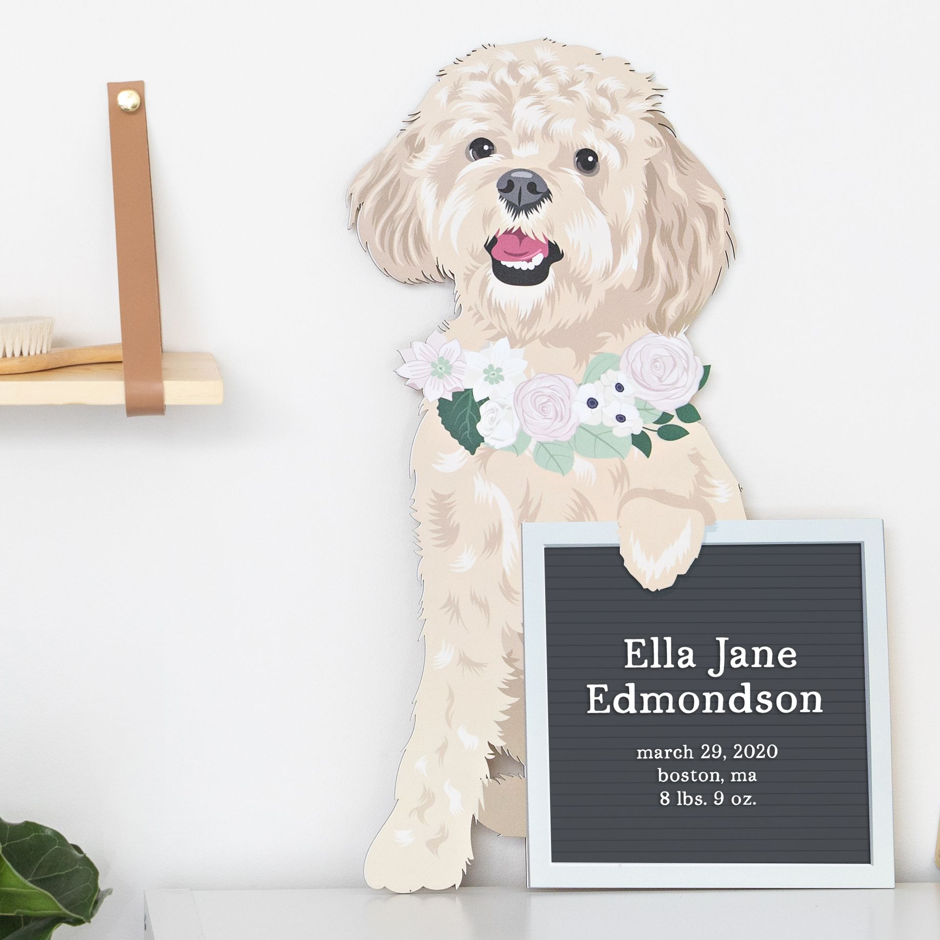 Dog with Letterboard Art for Nursery