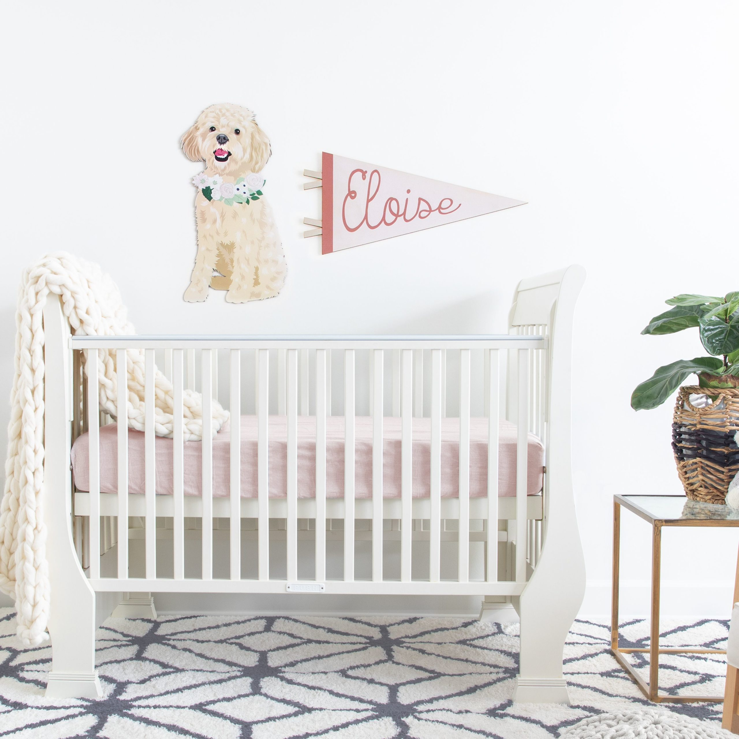 Custom Dog Portrait and Name Pennant Banner in Nursery