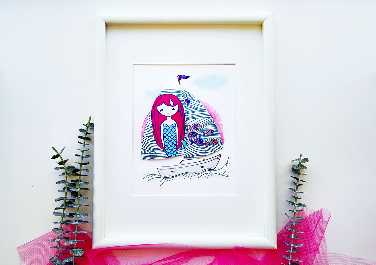 A girly sailboat with a cheeky mermaid and mini rhinestones....