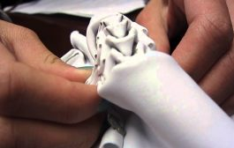 Pleating a piece of fabric using 3D printed shapes...