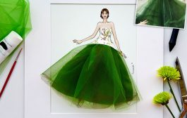 Fan art: Monique Lhuillier X green tulle......