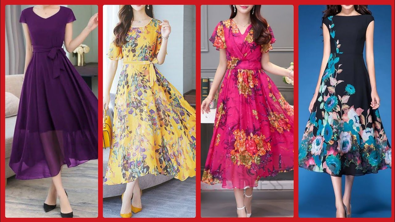 attractive prints chiffon and linen long  Frocks style trending v...